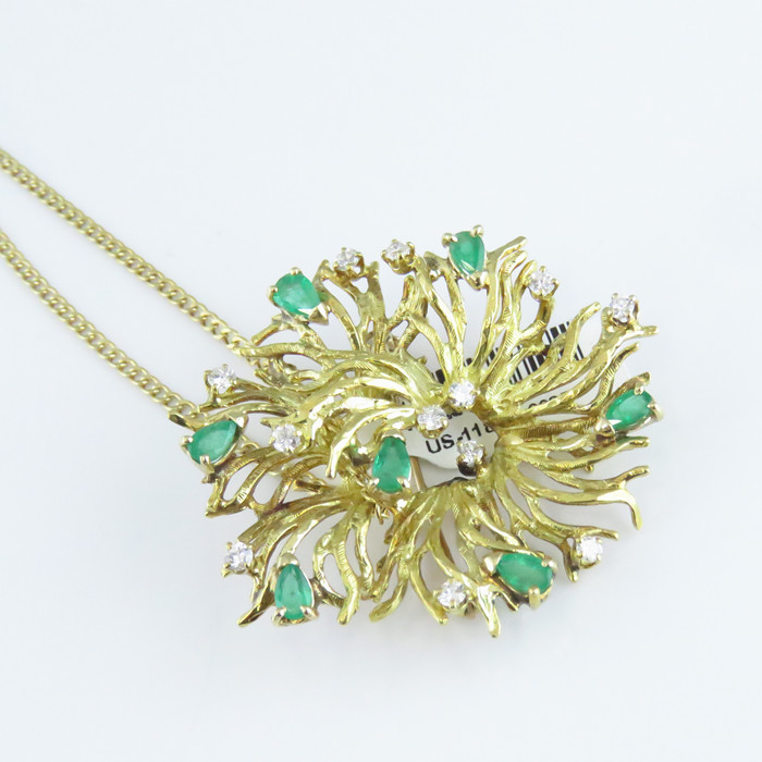 47b7997dc1947 Details about NYJEWEL 18k 10k Gold New Floral 2.75ct Emerald Diamond Pin  Brooch Necklace