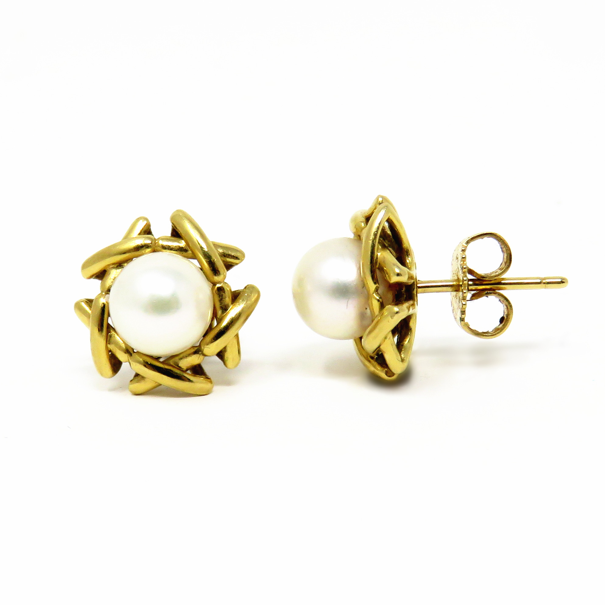 3c43aa5f73d032 Details about NYJEWEL TIFFANY & CO. 18K Yellow Gold 7mm Akoya Pearl  Signature X Stud Earrings