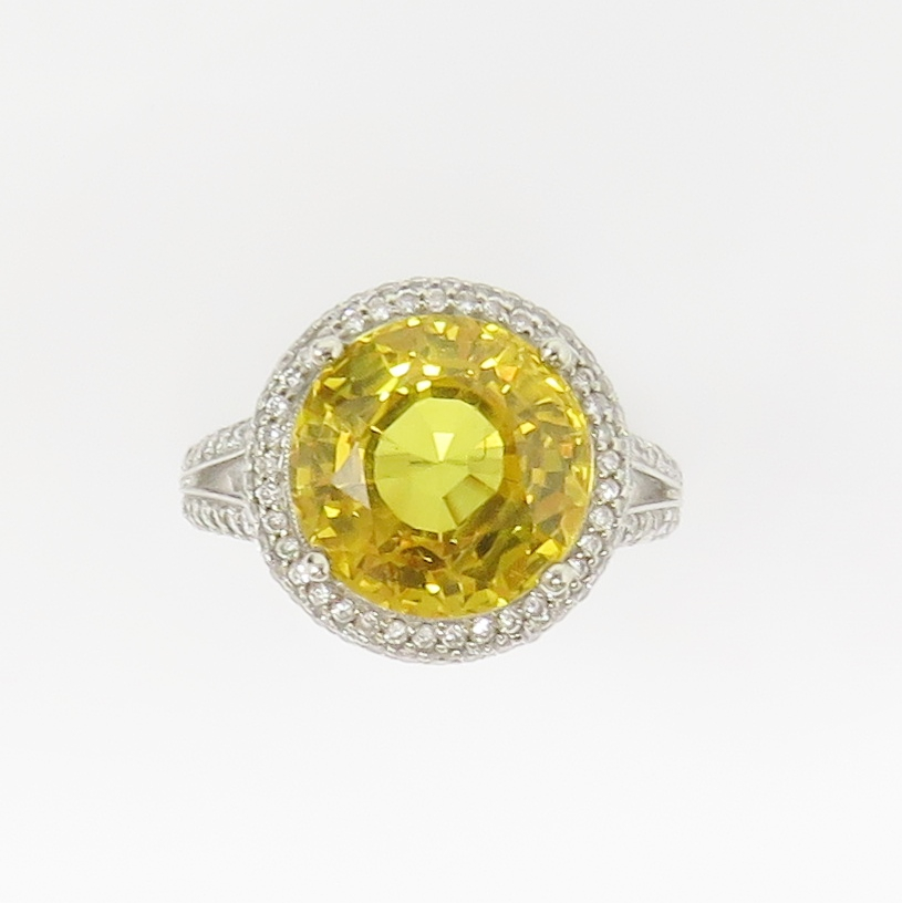 741d84c40d630 Details about NYJEWEL Brand New 18k White Gold 9ct Yellow Sapphire &  Diamond Cocktail Ring